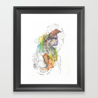 Abstract Portrait Illustration Watercolor Painting  Framed Art Print
