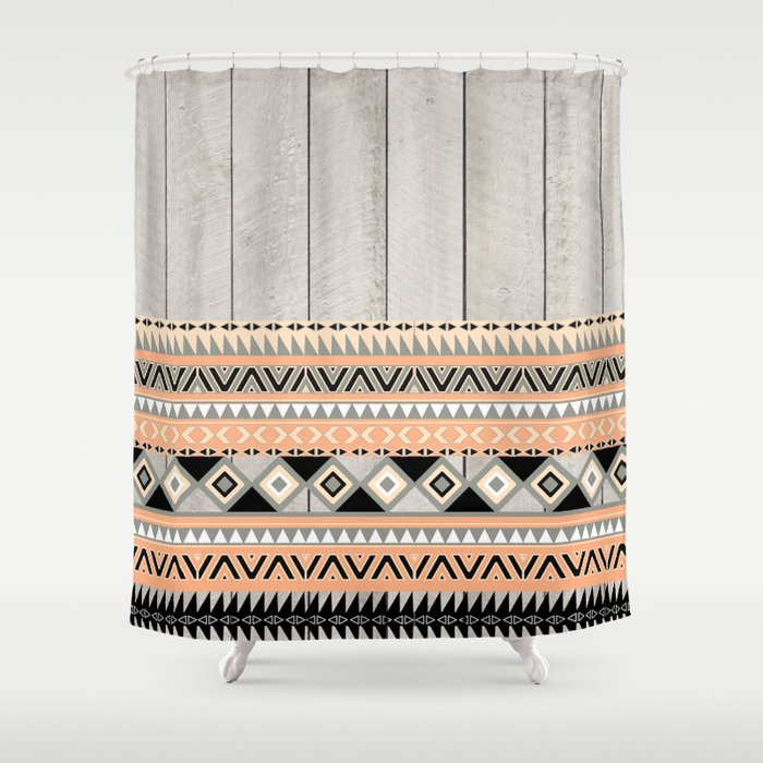 Peach Coral Andes Abstract Aztec Tribal Gray Wood Shower Curtain By Girly Tre