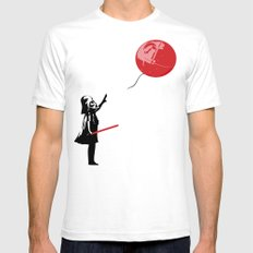 That's No Banksy Balloon (It's a Space Station) White Mens Fitted Tee SMALL