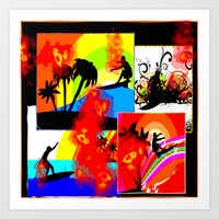 Posterized Surfing Collage Art Print