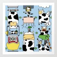 Cow story Art Print