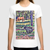 Horses And Hens In A Fie… Womens Fitted Tee White SMALL