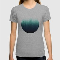 Teal Ombré Womens Fitted Tee Athletic Grey SMALL