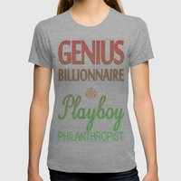 GENIUS TONY Womens Fitted Tee Athletic Grey SMALL