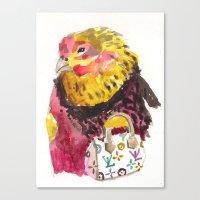 Canvas Print featuring fancy ms. hen by Becca Kallem