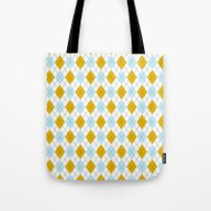 Sky Blue And Gold Argyle Tote Bag