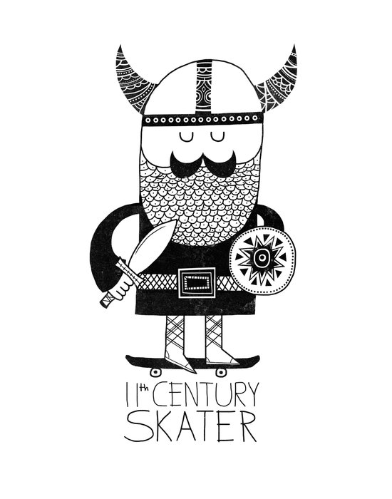 11th Century Skater - White Art Print