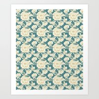 Rose Damask Teal Art Print