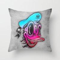 Demon Duck Throw Pillow