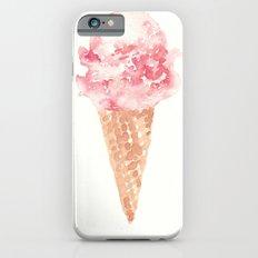 Watercolor Pink Ice Cream Cone iPhone 6 Slim Case
