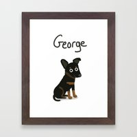 Custom Cute Dog Illustra… Framed Art Print