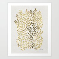 gold Art Prints featuring Gold Ivy by Cat Coquillette