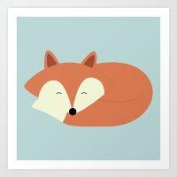 Sleepy Red Fox Art Print