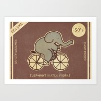 Elephant Match Works  Art Print