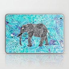 Mandala paisley boho elephant blue turquoise watercolor illustration Laptop & iPad Skin
