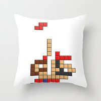 Super Mario Tetris Throw Pillow