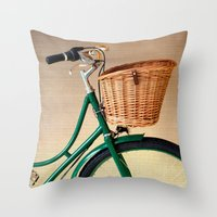 Vintage green bicycle with basket and textured background  Throw Pillow