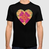 Bright Modern Crochet Pattern Mens Fitted Tee Black SMALL