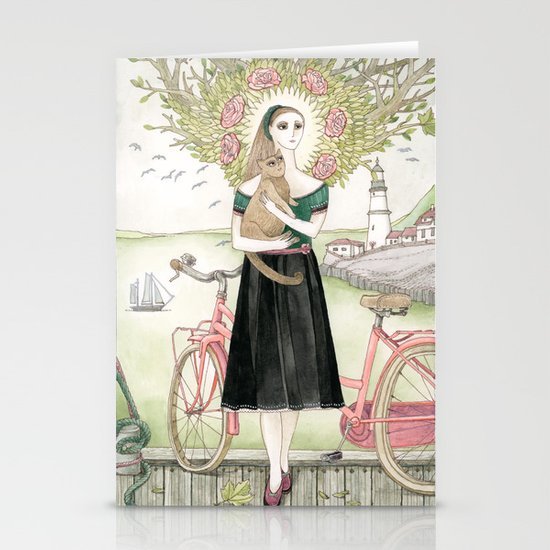 Girl and cat with pink bicycle Stationery Card