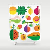 Fruit Medley White Shower Curtain