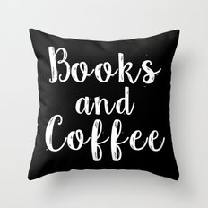 Books And Coffee - Inver… Throw Pillow
