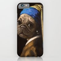 iPhone & iPod Case featuring pug with a pearl earring by Stephanie Matos