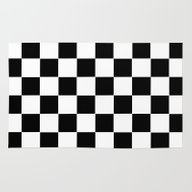 Checker Cross Squares Bl… Rug