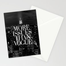 More Issues Than Vogue Black and White NYC Manhattan Skyline Stationery Cards