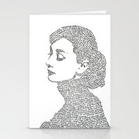 audrey hepburn Stationery Cards featuring Audrey Hepburn by S. L. Fina