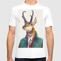 Pronghorn Deer Mens Fitted Tee White SMALL