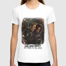 Cap and Bucky - Worth Fighting For Womens Fitted Tee White SMALL