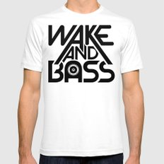 Wake And Bass (Black) Mens Fitted Tee SMALL White