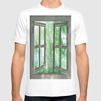 WINDOW TO NATURE Mens Fitted Tee White SMALL