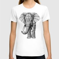 white T-shirts featuring Ornate Elephant by BIOWORKZ