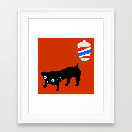 Hairdresser's black dog Framed Art Print