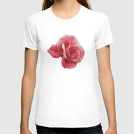Filtered Rose Womens Fitted Tee White SMALL