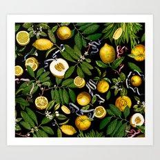 LEMON TREE Black Art Print