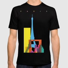 Shapes of Paris. Accurate to scale. Mens Fitted Tee Black SMALL