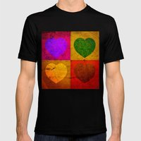FOUR HEARTS FOR VALENTINE'S DAY Mens Fitted Tee Black SMALL
