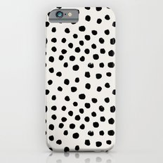 Preppy brushstroke free polka dots black and white spots dots dalmation animal spots design minimal iPhone 6 Slim Case