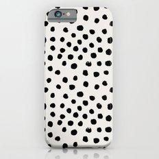 Preppy brushstroke free polka dots black and white spots dots dalmation animal spots design minimal iPhone 6 Slim Case