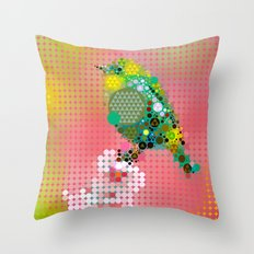 Green bird Throw Pillow
