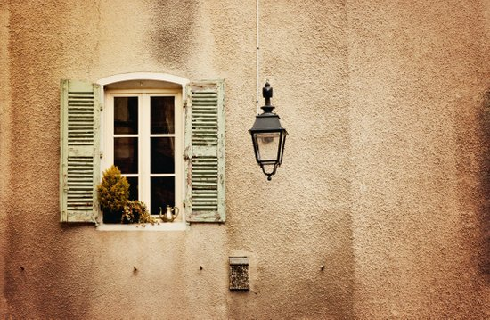 Window with Shutters and Teapot Art Print