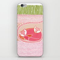 Sleepy Happy Foxes iPhone & iPod Skin