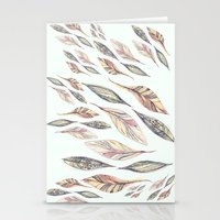 feathers Stationery Cards featuring Feathers by Vasare Nar