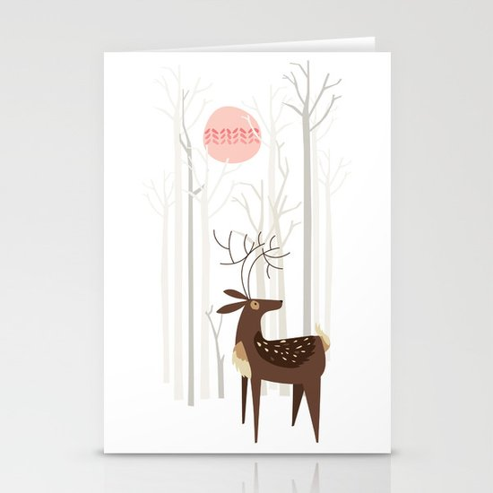 Reindeer of the Silver Wood Stationery Card