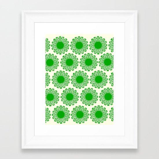 Vintage Flower_Green Framed Art Print