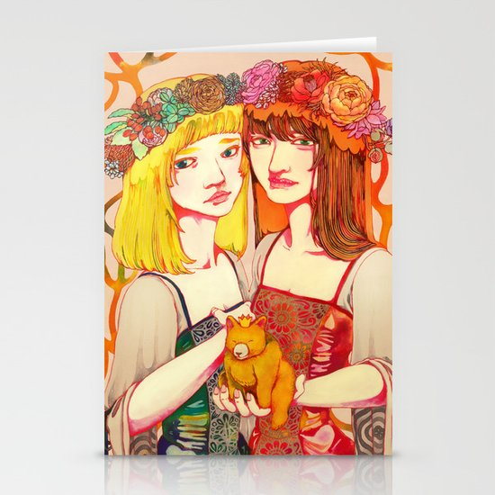 Snow White and Rose Red Stationery Card