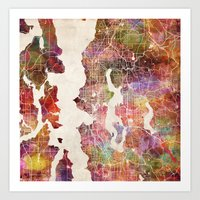 seattle Art Prints featuring Seattle by MapMapMaps.Watercolors