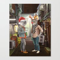 A Cats Night Out Christmas edition Canvas Print